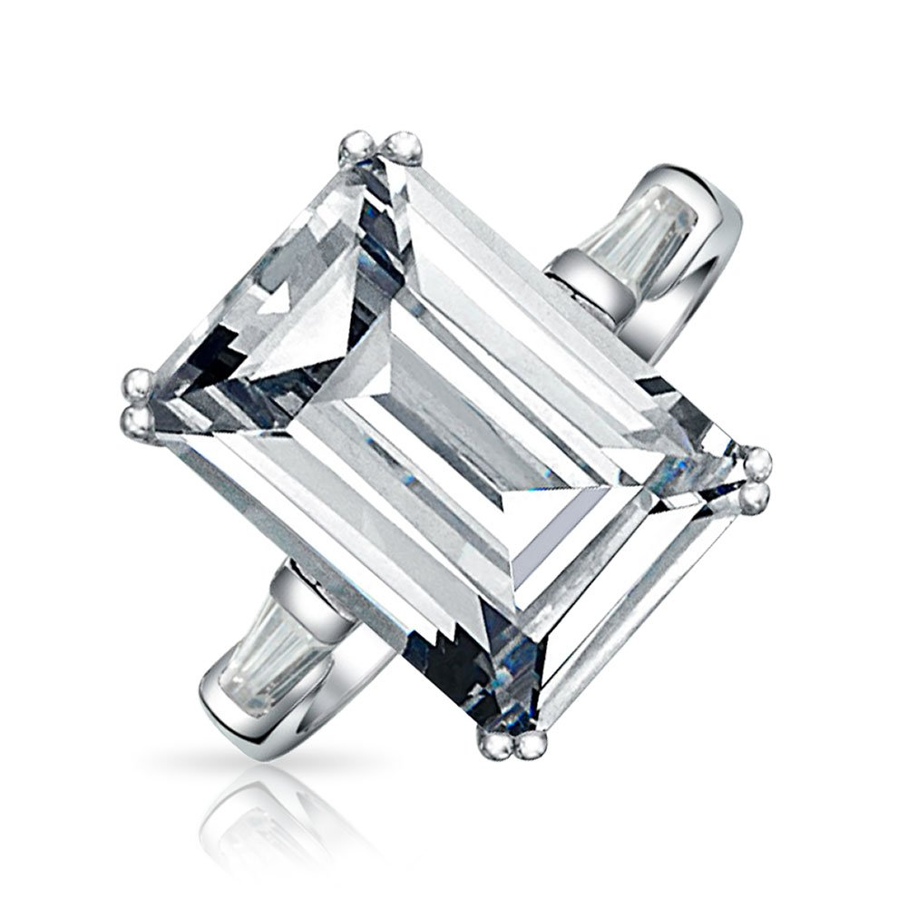 .925 Sterling Silver Emerald Cut 8.5ct Clear CZ Engagement Ring
