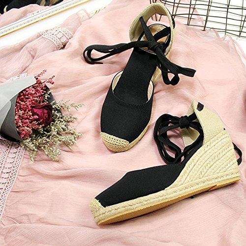 Xing Lin Ladies Sandals High-Heeled Fisherman Shoes Canvas Thick Straw Slope With Sandals Female Summer Black fme2wI