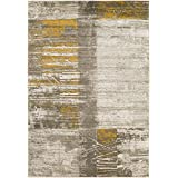 "Surya Contemporary Rectangle Area Rug 2'2""x3' Grey-Yellow Jax Collection"