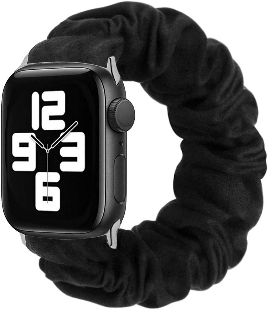 MONOBLANKS Scrunchie Elastic Watch Band Compatible for Apple Watch Band 38mm/40mm 42mm/44mm,Thick Elastic Band Replacement Compatible with for iWatch Series 4/3/2/1 (Black, 38MM/40MM)