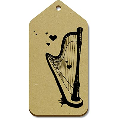 10 x Large 'Romantic Harp' Wooden Gift / Luggage Tags (TG00055118)