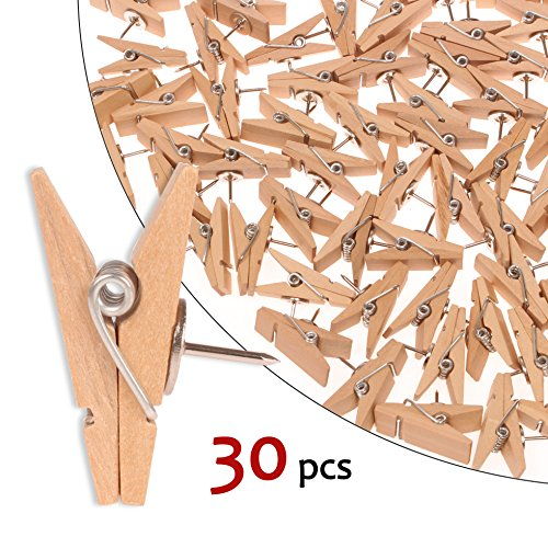 Push Pin Clips - 30 Paper Clips with Pin for Documents/Artworks/School Projects/Photos/Notes/Papers/Cork Board/Bulletin Board - No Holes for The Paper -