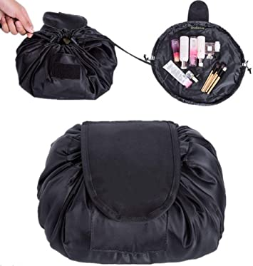 Drawstring Makeup Bag,ONEGenug Cosmetic Bag,One Step Toiletry Organizer, Cosmetic Pouch for Lazy Ladies Black