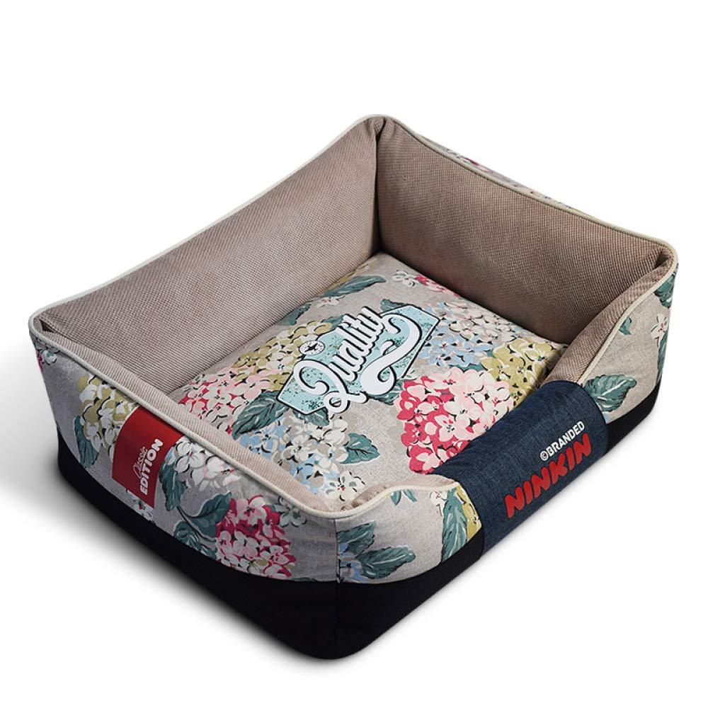 A X-Large A X-Large QJKai Pet supplies cut velvet canvas square kennel pet nest pad cat bed