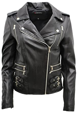 93fe8f5e8e Ladies Black Real 100% Lamb Nappa Leather Biker Jacket
