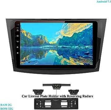 XISEDO 9 Pulgadas In-Dash Android 7.1 Autoradio Radio de Coche RAM 2G ROM 32G Car Radio Estéreo Navegación de Automóvil para Mazda 3 (2010-2013) (con Placa de Matrícula con Radar de Estacionamiento):