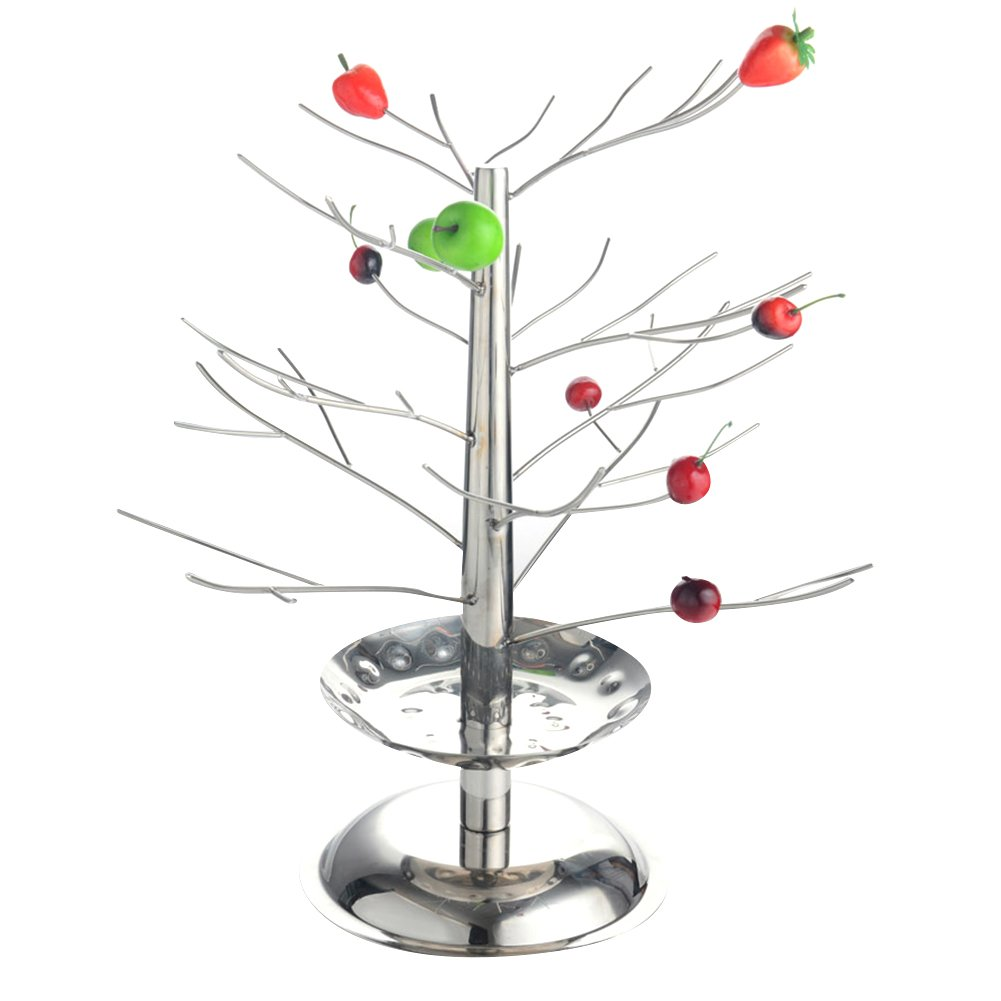iecool Stainless Steel Double-deck Tree Fruit Rack Silver D380H500mm