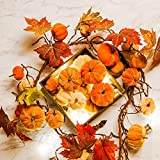 fireplace mantel decorating ideas Romingo Artificial Maple Leaf Garland with Pumpkins 69'' Hanging Fall Leave Vines for Wedding Thanksgiving Dinner Party Fireplace Halloween Décor