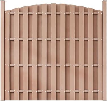 Paneles de valla de jardín WPC de madera de plástico valla, redondo, color marrón, panel de valla de 71