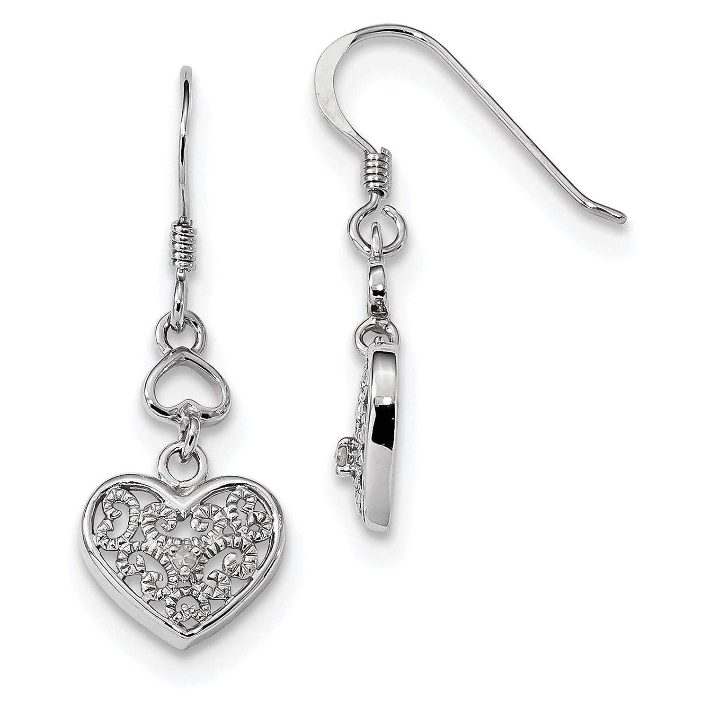 925 Sterling Silver Rhodium-plated Diamond Heart Dangle Earrings