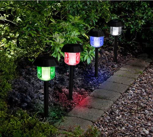 MTS - Farolillos solares para jardín (luz LED, cambian de color, 4 unidades): Amazon.es: Jardín