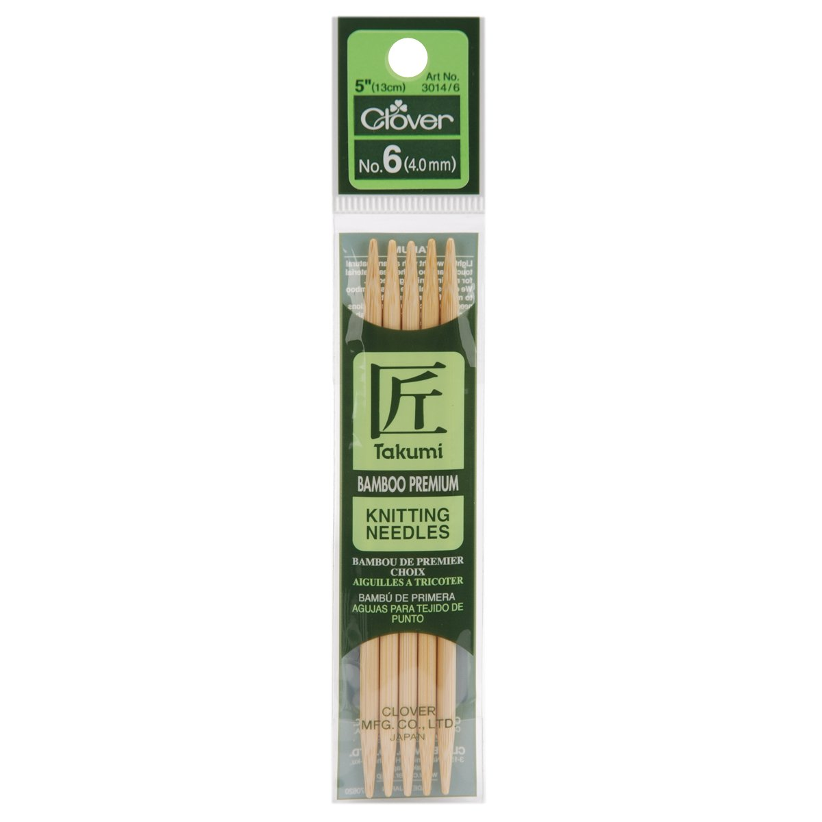 Size 6//4mm 5 Per Pack Clover NOM073934 Takumi Bamboo Double Point Knitting Needles 5