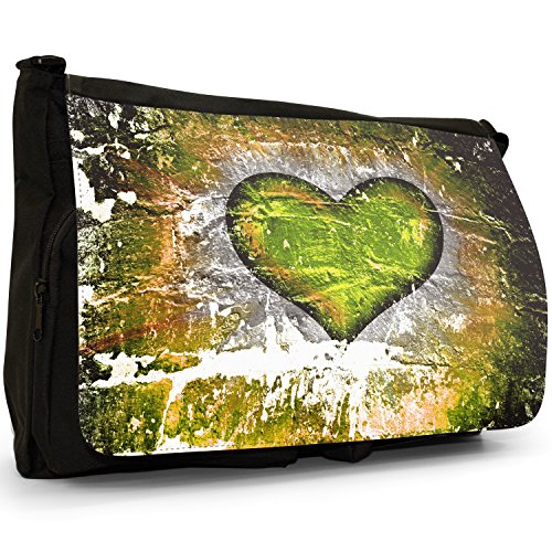 Heart On Yellow Messenger Bag Shoulder Canvas Large Wall Brick Laptop Black School Grunge dpSw5qd