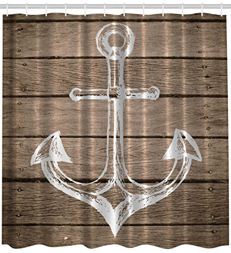 Anchor Shower Curtain Nautical Decor Hand Drawing Boating Sketch Taupe Rustic Wooden Planks Coastal Home Buoy Kids Decor Bath Textile Polyester Fabric Machine Washable Brown (Nautical Themed Decor)