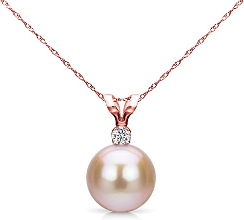 7-9MM Natural Pink Akoya pearl pendant necklace AAA Beautiful