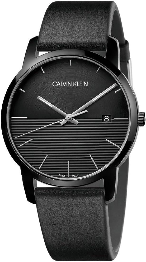 Calvin Klein Reloj Analógico para Hombre de Cuarzo con Correa en Cuero K2G2G4C1