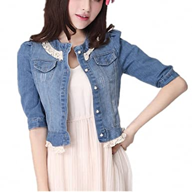 Women Vintage Denim Short Jacket summer Three Sleeve Lace Patchwork Jeans Shirt Jeans Tops Girls Blue