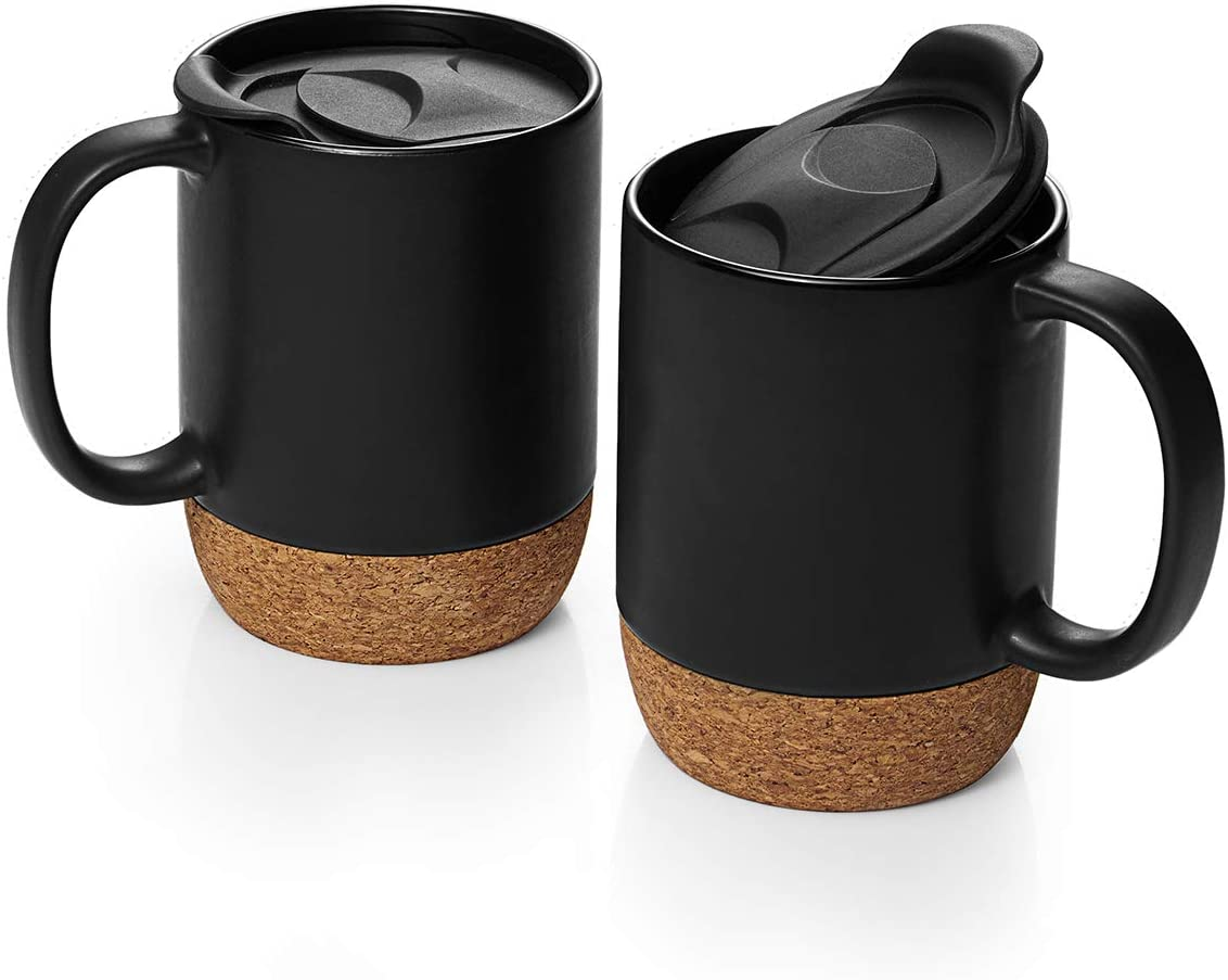 Dowan Coffee Mugs Set Of 2 15 Oz Ceramic Mug With Insulated Cork Bottom And Splash Proof Lid Large Coffee Mug With Handle For Men Women Matte Grey Kitchen Dining