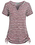 Kimmery Henley Shirts for Women, Juniors Slim fit Tops Split V Neck T Shirts Moisture Wicking Adjustable Hem Great Stripes Breathable Lightweight Comfortable Stylish Alluring Comfy Tunics Red Large