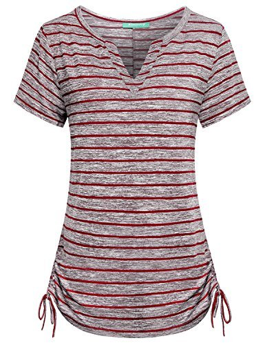 Kimmery Henley Shirts for Women, Juniors Slim fit Tops Split V Neck T Shirts Moisture Wicking Adjustable Hem Great Stripes Breathable Lightweight Comfortable Stylish Alluring Comfy Tunics Red Large by Kimmery