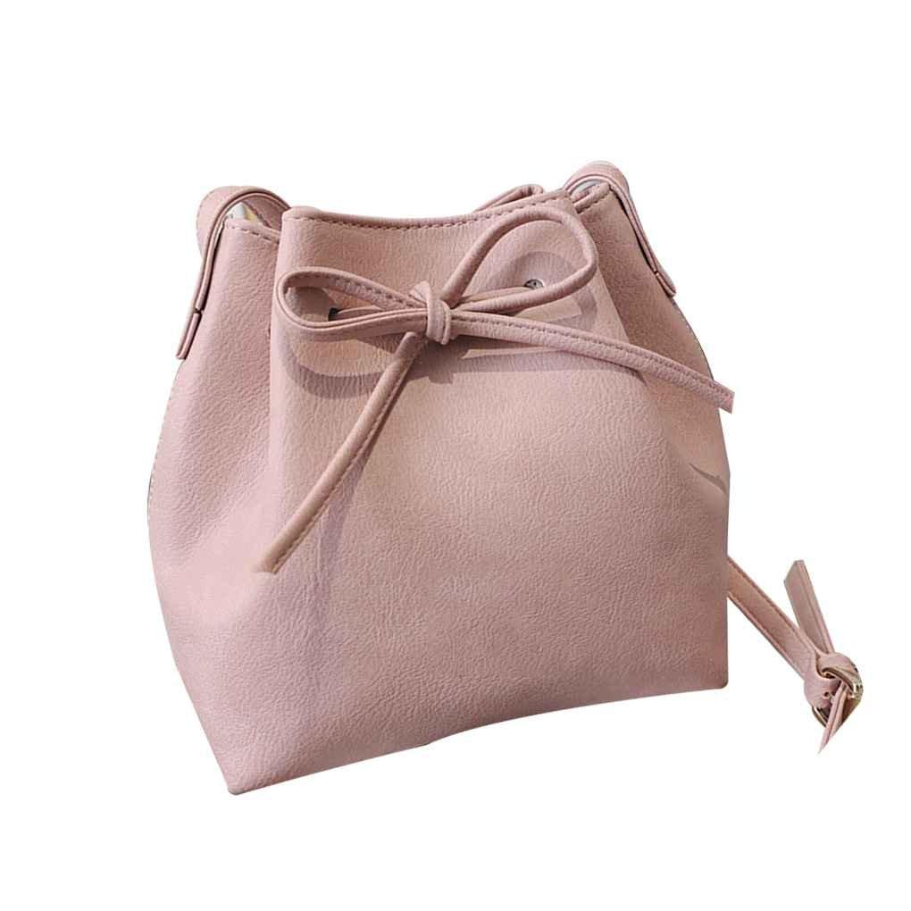 Xuanhemen Women Spring Summer Bow Drawstring Shoulder Bag Girl Bucket Messenger Bag Lady Cute Small Crossbody Bag