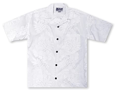 98f851321 Hilo Hattie Hibiscus Floral Men's Shirt Hawaiian Shirt White at ...