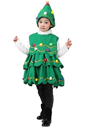kids girls christmas tree costume dress toddler santa claus party costume suit with hat
