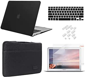 MacBook Pro 13 Inch Case 2019 2018 2017 2016 Release A2159/A1989/A1706/A1708, iCasso Hard Plastic Case, Sleeve, Screen Protector, Keyboard Cover & Dust Plug Compatible MacBook Pro 13'' - Black
