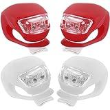 Prochive 4 x Mini LED Fahrradlampen für Sicherheit Wasserdicht Silikonleuchte Frontlicht Fahrrad Scheinwerfer Lampe Rot/Weiß