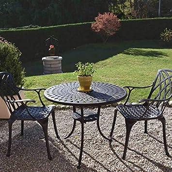 Lazy Susan - Table Ronde 90 cm MIA et 2 chaises de Jardin - Salon de Jardin  en Aluminium moulé, Coloris Bronze Ancien (chaises Rose)