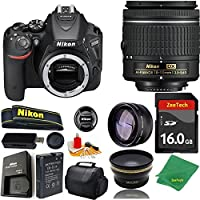 Great Value Bundle for D5500 DSLR – 18-55mm AF-P + 16GB Memory + Wide Angle + Telephoto Lens + Case