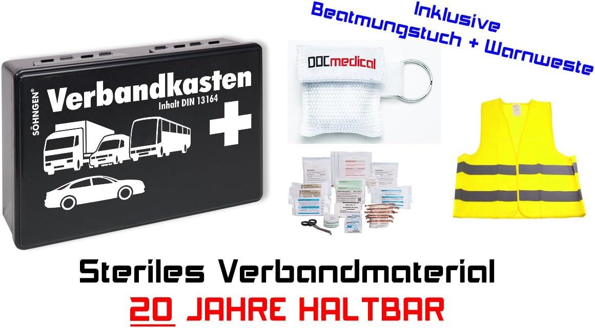 + Beatmungstuch Warnweste KFZ Verbandkasten 20 Jahre haltbar