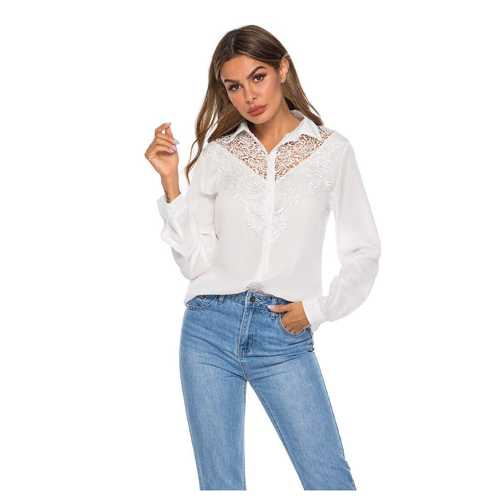 AmyDong Women's Fashion Lapel Collar Button V Neck Long Sleeve Blouse Lace Silm T-Shirt Work Tops S-XL White by AmyDong Women Blouse