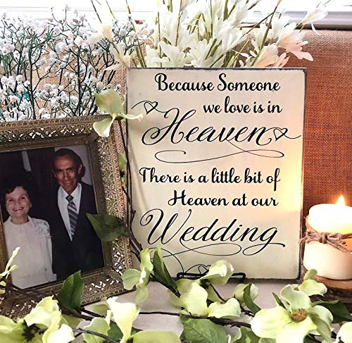 rfy9u7 Because Someone We Love is in Heaven, Memorial Wedding Sign, Wood Memory Sign, Heaven at Our Wedding, Remembrance Sign, Wedding Memory Table -