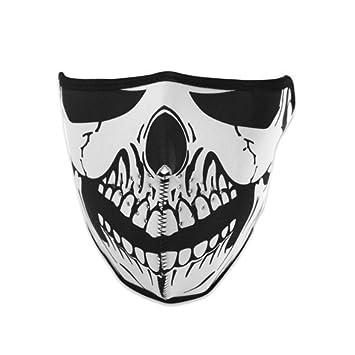 1 x Reversible resistente al viento negro tribal Calavera neopreno media Cara Máscara Headwear máscara ventilación
