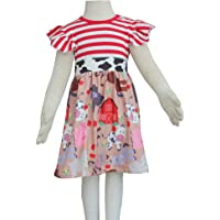 Qliyang Baby Girls Summer Dress Toddler Girls Farm Animals Cotton Stripe Dress