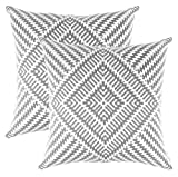 Decorative Pillow Cover - TreeWool Decorative Square Throw Pillow Covers Set Kaleidoscope Accent 100% Cotton Cushion Cases Pillowcases (20 x 20 Inches / 50 x 50 cm; Sleet Grey & White) - Pack of 2