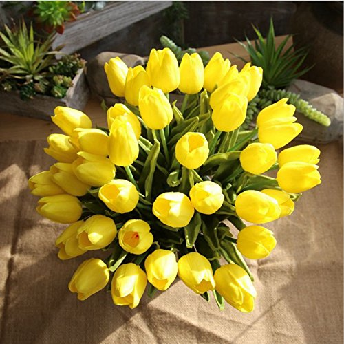 Mandy's Yellow tulip 14'' artificial flowers 20pcs real touch for Wedding home & kitchen nearly natural PU vase not include by Mandy's (Image #5)