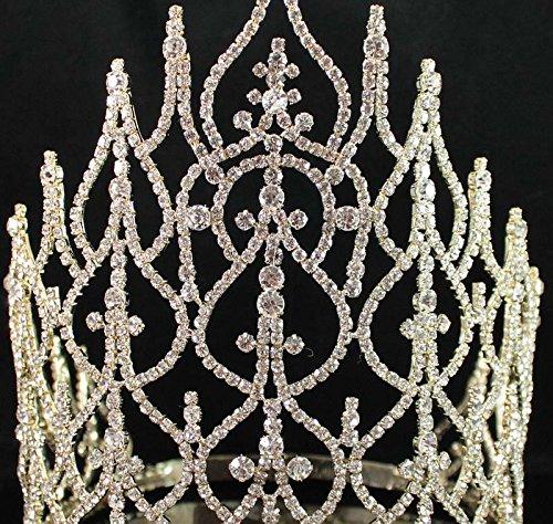 Beauty Queen Crown Tiara Clear Austrian Rhinestone Crystal Pageant T1413g Gold