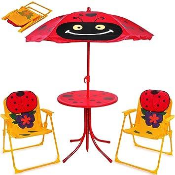 Deuba Ensemble 2 Chaises 1 Table Enfant Parasol Ajustable Camping Extrieur Terrasse Balcon