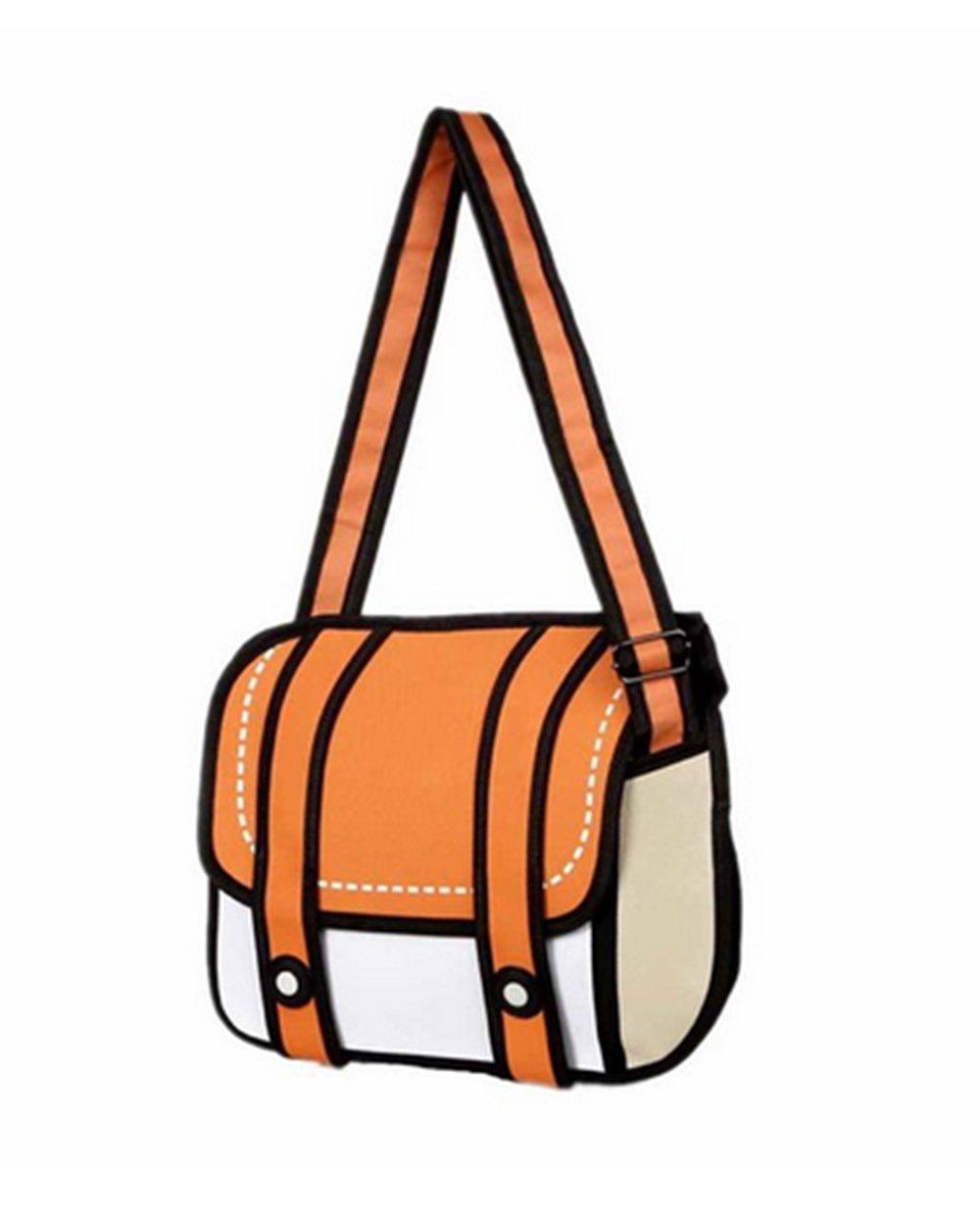 xugq66 3d Cartoonペーパーバッグからスタイル2d図面Comic 3dメッセンジャーバッグ B06XNS532M オレンジ