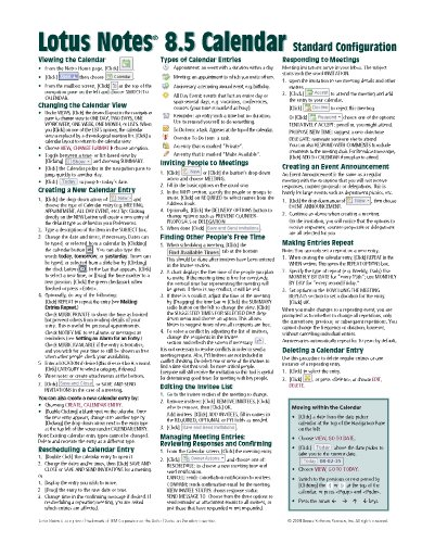 Lotus Notes 8.5 Calendar Quick Reference Guide (Cheat Sheet of Instructions, Tips & Shortcuts - Laminated Card)