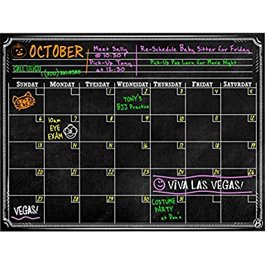 Bigtime Dry Erase Magnetic Chalkboard Design 2016 Monthly Calendar Black, 12 x 16-Inch