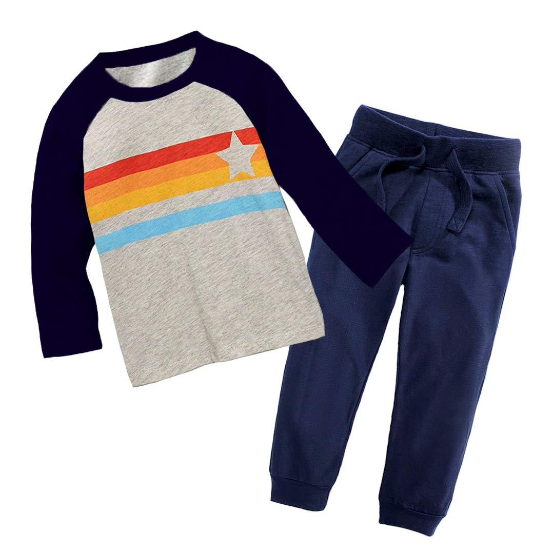 Boys Long Sleeve Clothing Set Baby T-Shirt+Pants Outfits Pajamas Set (3T/2-3Years, Navy)