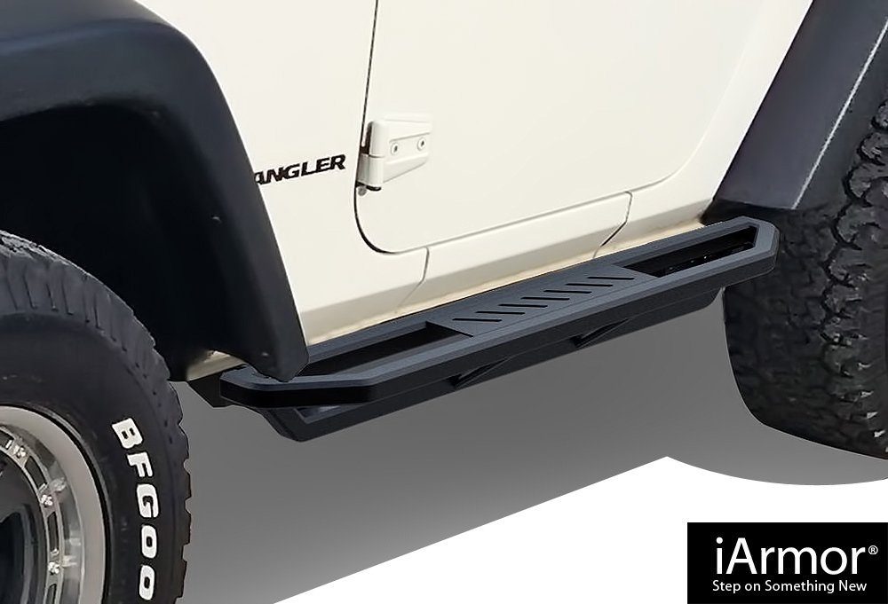 AMS Jeep Off-Road Side Steps Armor Custom Fit 2007-2018 Jeep Wrangler Sport Utility 2-Door iBoard By APS
