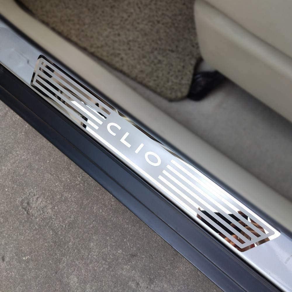 GWQNB 4 Pezzi davanzali battiscopa Protezioni Accessori Auto davanzali in Acciaio Inox Pedale Adesivi per Lo Styling dellauto per Renault Clio IV Clio 2014-2019