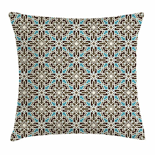 (Ambesonne Brown and Blue Throw Pillow Cushion Cover, Arabesque Middle Eastern Inspired Moroccan Star Pattern Ornament, Decorative Square Accent Pillow Case, 24 X 24 Inches, Taupe Pale Blue Brown)
