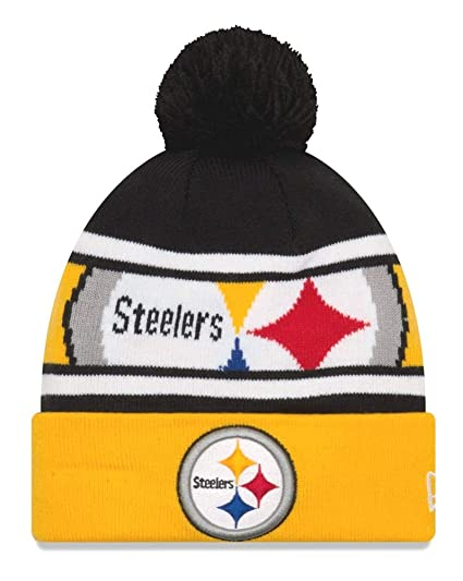 634035551a36c Amazon.com   New Era Pittsburgh Steelers Youth NFL Junior Callout Cuffed  Knit Hat with Pom   Sports   Outdoors