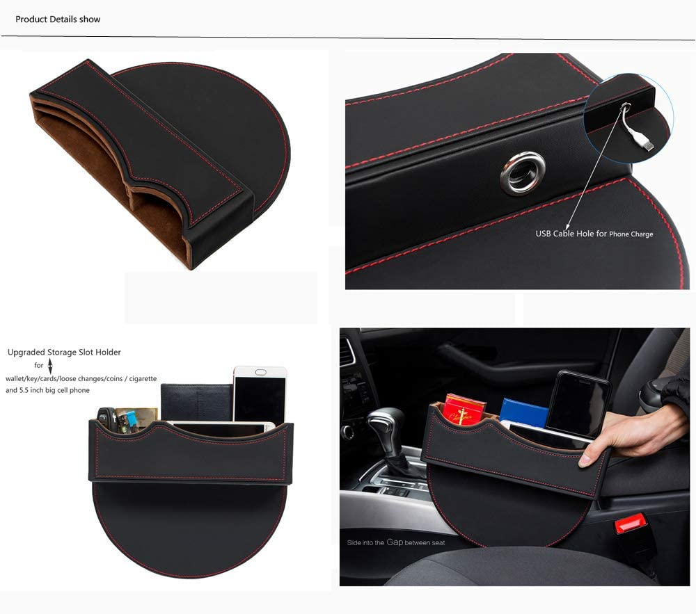 Mona Brown PU leather Car Seat Catcher Gap with Tablet iPhone Holder Filler Organiser Side Pocket Coin Side Pocket,Console Side Pocket,Car Organizer Drivers Side