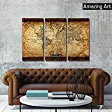 Amazing Art- Original World Map Old Vintage Rustic Art Canvas Print--Canvas Wall Art - Landscape Oil Paintings On Canvas Paintings for living room (Framed On Canvas, 12 x 35.5 x 3pcs)
